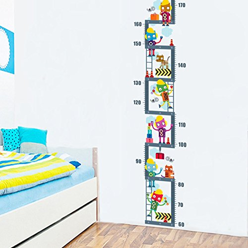 Wallpark Cartoon Cute Robot Climbing Stairs Playing Game Happy Life Height Sticker, Growth Height Chart Measuring Removable Wall Decal, Children Kids Baby Home Room Nursery DIY Decorative Wall Mural