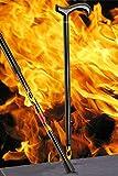Bastón Carbonderby Flames, elegante mango Derby de carbono, montado sobre un bastón de fibra de carbono con un extravagante patrón de llamas, altura regulable, incluye amortiguador delgado.
