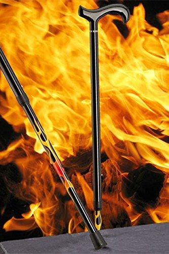 Gehstock Carbonderby FLAMES, schicker Derbygriff aus Carbon, aufgesetzt auf einen Stock aus Carbonfaser mit extravagentem Flammenmuster, höhenverstellbar, inklusiv Schlankpuffer.