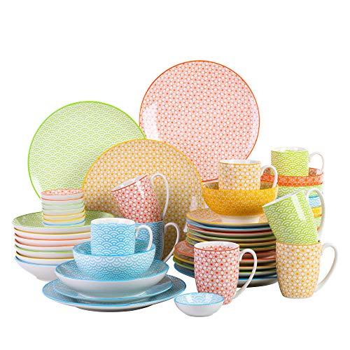 Vancasso serie Natsuki Juegos de Vajilla 48 Piezas con Dibujos 4 Diseños Juego de Servicio de Cena de Porcelana Pintada a Mano set de Vajillas Completas Multicolor para 8 personas