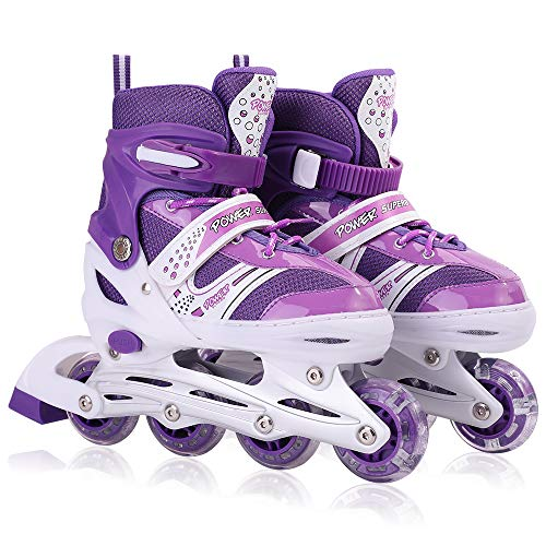 Kids Adjustable Inline Skates with Flashing Light Up Wheels for Boys and Girls,Ice Skating Equipment Small&Medium Size Safe and Durable Children Roller Skates for Beginner (Purple, Small)