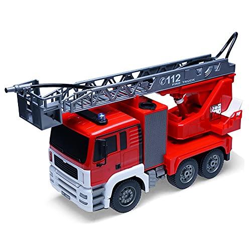 ALYHYB Control Remoto Camión de Bomberos Radio RC Coche Ajustable Escalera de Rescate Parpadeante Luces Sirenas Spray Rescue Fire Motor Fire Agua Juguete para Boy Girl Cumpleaños Regalo