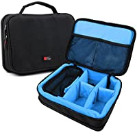 DURAGADGET Bolsa Acolchada Profesional Negra con Compartimentos e Interior en Azul clarito para maquinilla de Afeitar/Corta Pelo Philips Barbero MG5740/15, Remington HC5810 Pro Advanced Ceramic