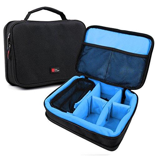DURAGADGET Bolsa Negra con Compartimentos e Interior en Azul clarito para maquinilla de Afeitar/Corta Pelo Remington Delicates BHT250, Edge PG6030, F5 Style Series F5000, MB350L
