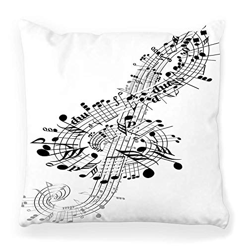 Fantastic Fairy Soft Square Pillow Cover 20x20 Music Clef Jazz Black Treble White Abstract Backgrounds Chord Classical Clip Concert Curve Home