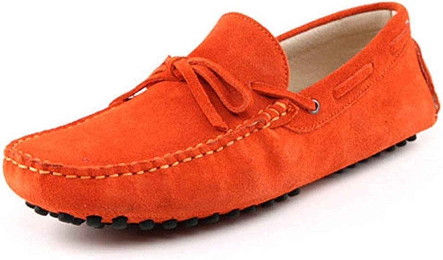 ZHRUI Men's New Knot orange Suede Driving Loafers Penny Boat shoes 11 M UK (color   -, Size   -)