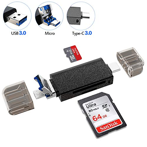 YAOMAISI 5 in 1 TF/SD Externe Kartenlesegerät. USB/Type C/Dual 3.0-Kartenleser.mit USB A Micro USB und USB A Weiblich für PC/Laptop/Smartphones/Tablets (Schwarz)