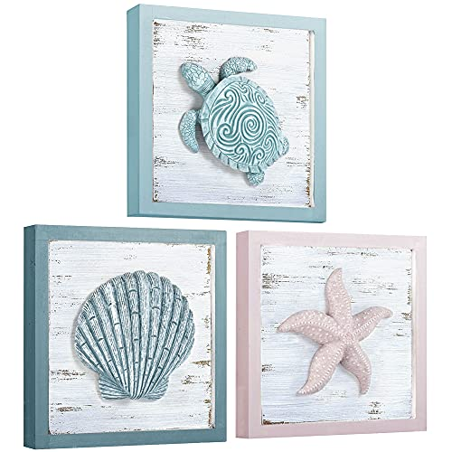 DECOPIRE Beach Theme Seashell Turtle Starfish 3D Art Wall Decor for Home Living Room Bathroom or Bedroom Morden Wall Rustic Coastal Decoration 3 Panels 7x7 inches (7'x7', 3D Seashell Theme)