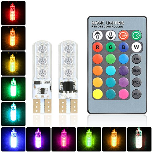 lzndeal 1 paire Lumière d'ambiance Lampe Intérieur de Voitures RGB T10 5050-6LED avec télécommande, RGB voiture lumière de décoration intérieure avec télécommande 12V 6 SMD auto atmosphère lampe