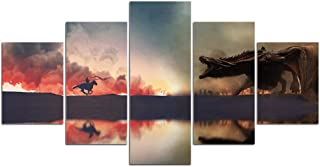 Canvas Painting Game of Thrones Dragon 5 Pieces Spitfire Picture Wall Pictures for Living Room Posters and Prints Home Decoration