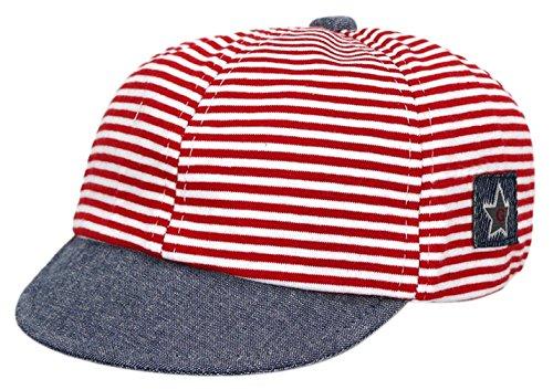 EOZY-Striscia Soffice Tesa Semplice Bambino Cappello con Visiera Rosso
