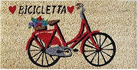 Zerbino Ingresso Casa in Cocco con Base in PVC Dipinto a Mano Raffigurante Bicicletta Rossa 50X25X2 cm. Facile da Pulire e Ultraresistente