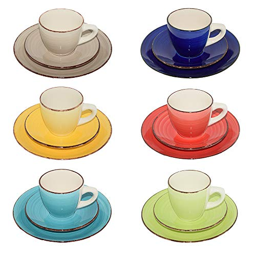 Creofant - Servicio de café de 18 piezas, tazas de gres y té, para 6 personas, tazas de café, platillos de postre,...