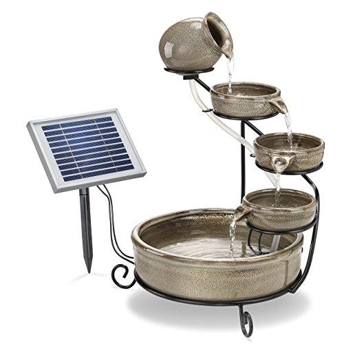 Solar Kaskadenbrunnen grau mit Akkuspeicher und LED Licht - großes 2 Watt Solarmodul - verschleißarme Pumpe - Springbrunnen Wasserspiel Solarbrunnen -...
