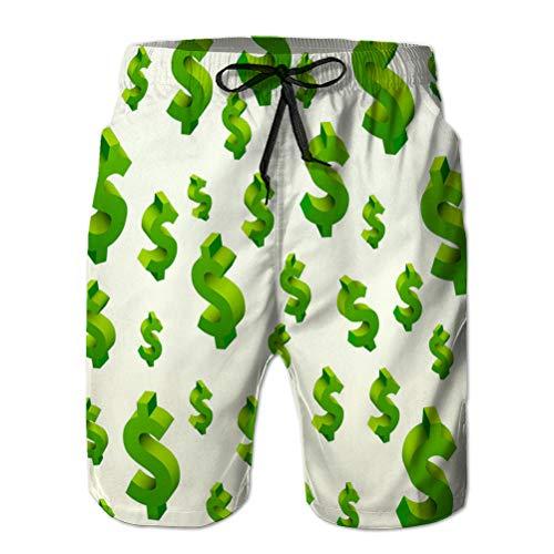 jiilwkie Mens Summer Swim Trunks Shorts de Playa de Secado rápido Shorts con símbolos de dólar en TH M