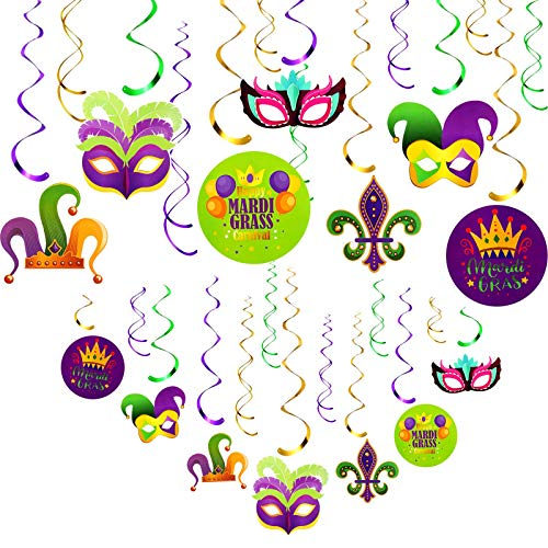 30 Pieces Mardi Gras Decorations Hanging Swirl Decor Mardi Gras Party Decoration Swirls Set for Carnival Birthday Party Supplies Photo Booth Backdrop Swirl Streamers