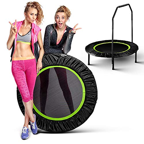 LINLIN Fitness Trampoline Indoor Mini Exercise Trampoline for Adults with bar, Best Home Gym for Fitness & Slimming Workout Exercise Fitness Bouncer, Silent & Thick PP Jumping mat,Green
