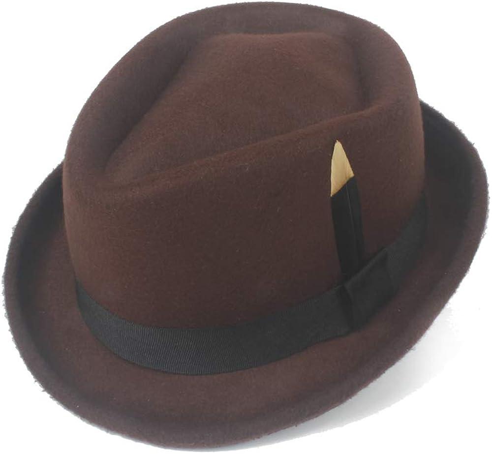 CNBEAU Unisex Hipster Fedora Hat Felt Wool Black Feather Panama Jazz Gangster Hat