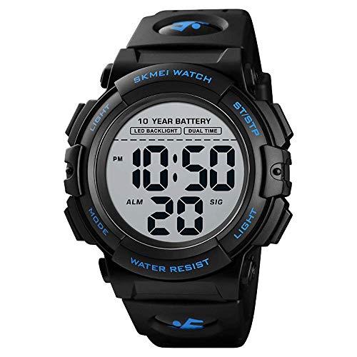 Reloj deportivo digital multifunción para hombre, 50 m, resistente al agua, para actividades al aire libre, para correr, relojes militares, relojes deportivos de gran esfera con LED, batería diez años