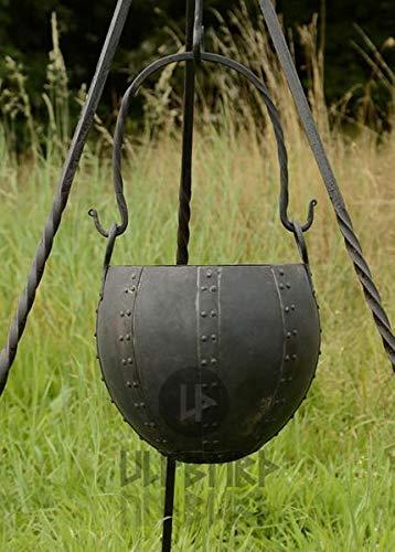 Großer Vernieteter Runder Lagertopf aus Stahl Gulaschkessel Mittelalter Lagerleben LARP Wikinger Topf Lagerküche ca. 10 Liter