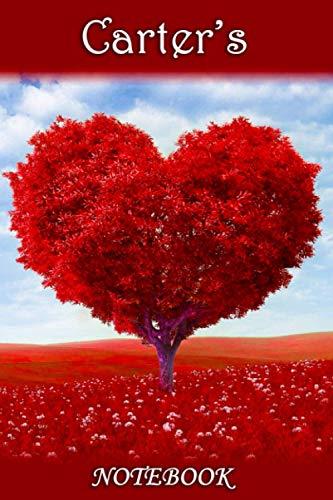 Carter's Notebook: Carter Personalised Custom Name Notebook - Love Heart Tree