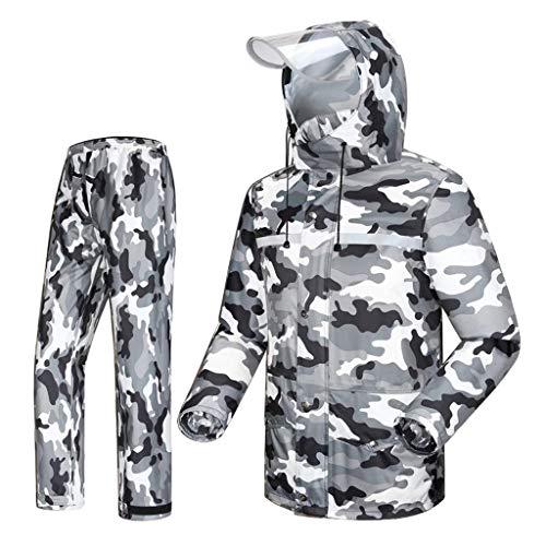 YDS SHOP Camouflage regenjas voor heren, regenjas en regenbroekset, gevoerde regen- en winddichte regenjas met capuchon regenjas, outdoor werk motorfiets golf vissen bergbeklimmen regenjas jas