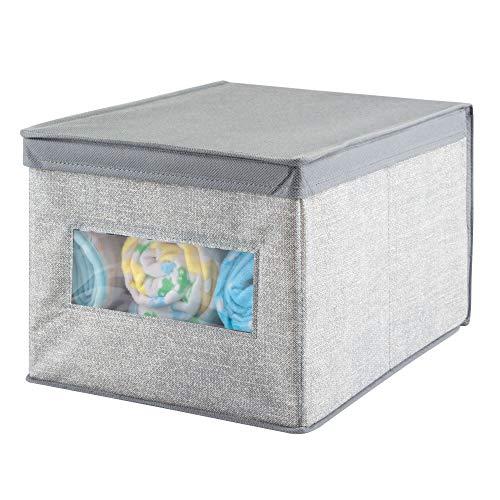 mDesign Caja organizadora de tela grande - Caja de tela con tapa para el armario del cuarto del bebé - Organizador de accesorios de ropa, sábanas, toallas, etc. - gris