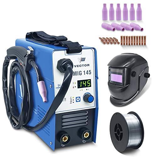 Vector Welding MIG145 - Soldadora profesional con 145 Amp – Electrodos Inverter IGBT – Combi Mig Mag – Equipo de soldadura – Equipo de soldadura de alambre – MMA ARC E-Hand MIG145