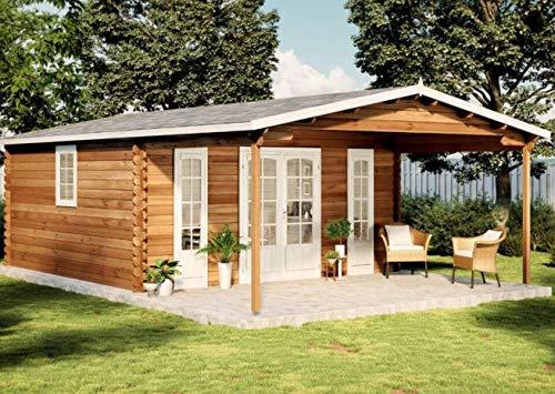 Alpholz Gartenhaus Nyborg-44 aus Massiv-Holz | Gerätehaus mit 44 mm Wandstärke | Garten Holzhaus inklusive Montagematerial | Geräteschuppen Größe: 500 x 800 cm | Satteldach
