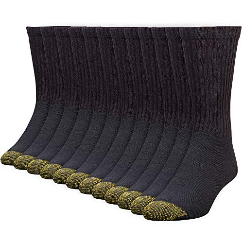 Gold Toe Men's 656S Cotton Crew Athletic Sock MultiPairs, Black (12 Pairs), Shoe Size: 6-12.5