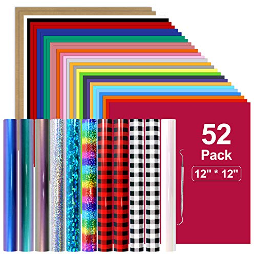 YRYM Heat Transfer Vinyl Bundle : 52 Pack 12' x 12' PU Iron on Vinyl, 32 Assorted Colors Iron on Vinyl with Christmas Buffalo Plaid HTV for Heat Press Design T-Shirts