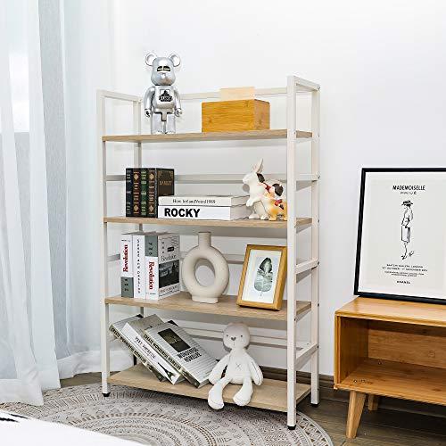 TOLEAD 4-Etagen weißes Bücherregal Leiterregal Offenes Ausstellungsregal Lagerung, Stahlkonstruktion Stabiles und haltbares Bücherregal, Mehrzweckregale für Wohnzimmer, Schlafzimmer, Eiche weiß