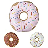 Mabel Home Throw Pillow 14' , Donut, 3D Digital Print Decorative Comfortable Soft Plush Funny Food Shaped Pillow, Seat Pad Cushion for Couch, Chair, Floor, Sofa (Pink)