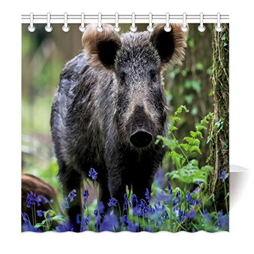 Violetpos Wildschwein Schwein Lila Wildblume Wald Duschvorhang aus Stoff wasserdichter Vorhang mit verstärktem Saum 180 x 200 cm
