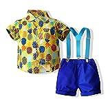 WHZDQ Conjunto de Traje de Caballero Tirantes de Camisa a Cuadros de Caballero de algodón de Dos Piezas para niños adecuados para una Variedad de escenas,Yellow,90