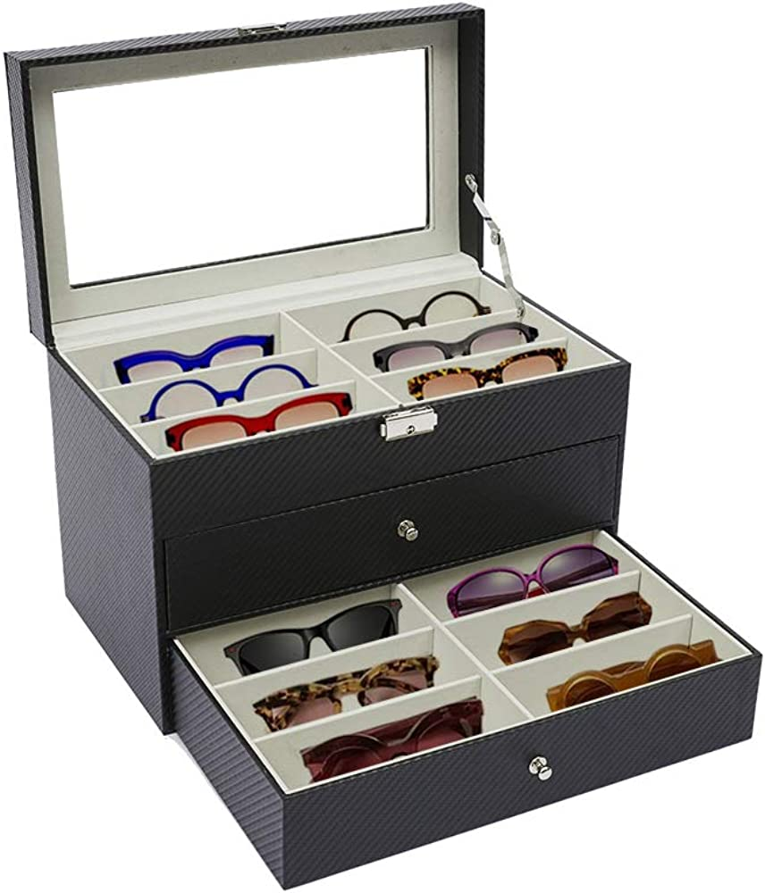 Eyeglasses Storage Box, LYNICESHOP 18 Grid 3 Layer Sunglasses Organizer, Sunglasses Display Box, Carbon Fiber Eyeglasses Holder, Sunglass Glasses Case Organizer, Multiple Sunglass Collection Holder