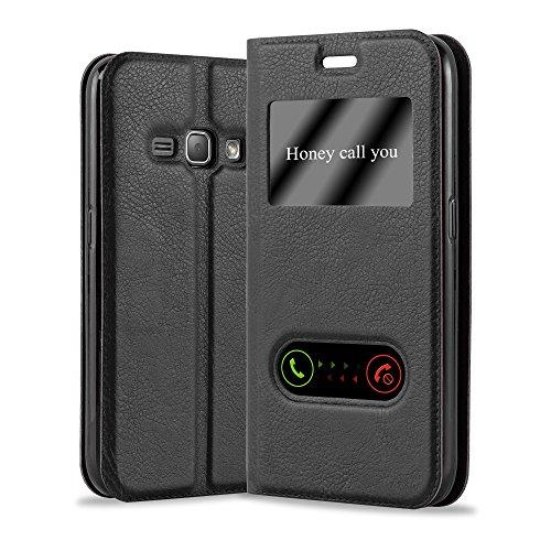Cadorabo Funda Libro para Samsung Galaxy J1 2016 en Negro Cometa - Cubierta Proteccíon con Cierre Magnético, Función de Suporte y 2 Ventanas- Etui Case Cover Carcasa