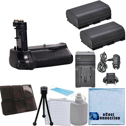 Battery Grip for Canon EOS 7D Mark II DSLR Camera + 2 LP-E6 Batteries + Car/Home Charger + Deluxe eCost Starter Kit | BG-E16
