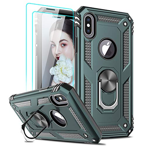 LeYi Compatible for iPhone X Case, iPhone Xs Case with Tempered Glass Screen Protector [2 Pack] for Women Men, [Military-Grade] Phone Case with Ring Kickstand for Apple iPhone X Xs 10, Midnight Green