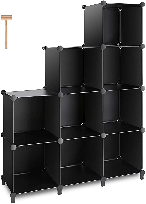 TomCare Cube Storage 9 Cube Closet Organizer Shelves Plastic Storage Cube Organizer DIY Closet Organizer Storage Cabinet Modular Book Shelf Shelving For Bedroom Living Room Office Black