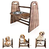 LByzHan Elevated Dog Bowls, 3-in-1 Adjustable Height 4in 8in 13in Wood Raised Dog Bowls Feeder Stand with 2 Food and Water Bowls for Dogs and Cats (Carbonized Black)