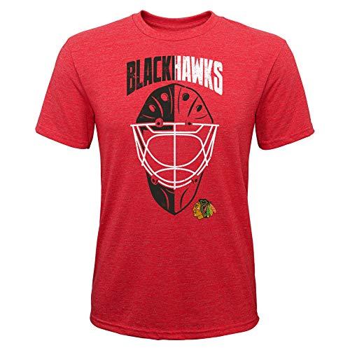 OuterStuff NHL Kinder T-Shirt Chicago Blackhawks Youth Mask Made Goalie Torwart Eishockey (S (8))