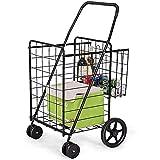 LLSS Klappbarer Einkaufswagen Jumbo Doppelkorb Perfekt für Lebensmittel Wäscherei Buch Gepäck Reisen mit drehbaren Rädern Utility Cart