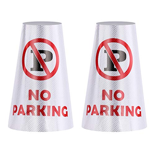 2Pack NO Parking Reflective Collars for Traffic Safety Cones, High Visible Signs for Driveway Road Outdoor Use [Cone Not Include]