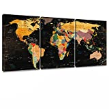 Decor MI Colorful World Map Wall Art on Canvas Black Canvas Prints Paintings 3 Pieces Canvas Map of The World Children Education Ready to Hang Map Decor Artwork for Living Room Bedroom Bathroom Office Home Decoration