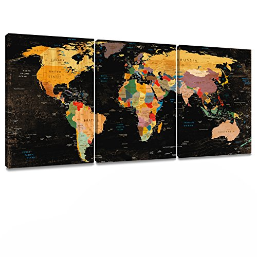 Decor MI Colorful World Map Wall Art on Canvas Black Canvas Prints Paintings 3 Pieces Canvas Map of The World Children Education Ready to Hang Map Decor Artwork for Living Room Bedroom Bathroom Home