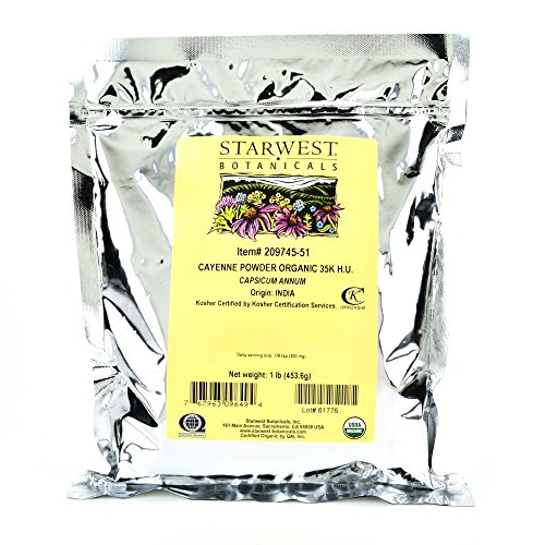 Starwest Botanicals Organic Cayenne Pepper Powder 35,000 SHU, 1-Pound Bag