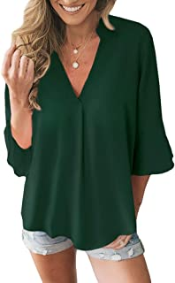 Women's V Neck Flowy 3/4 Bell Sleeve Chiffon Blouse