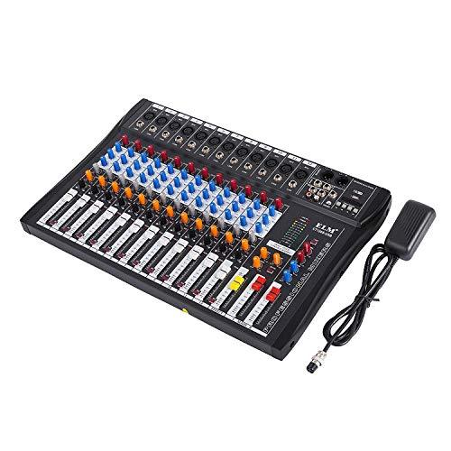 Buoqua 12 kanal Digital Mic Line audio mixer usb DJ Mixer 48V Phantom Mixing Console mischpult usb dj mischpult MP3 Audio Sound Mixer (12 kanal)