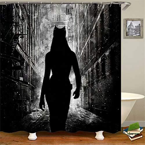 ZZZdz Batman Geht In Der Nacht. Duschvorhang: 180 X 180 cm. Wasserdichter Stoffteppich Für Duschvorhang. Bad Duschvorhang Set Polyesterfaser Bad Duschvorhang.